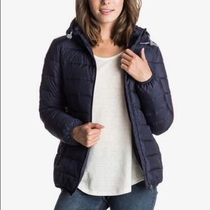 Roxy Quilted Puffer Jacket in Navy Blue